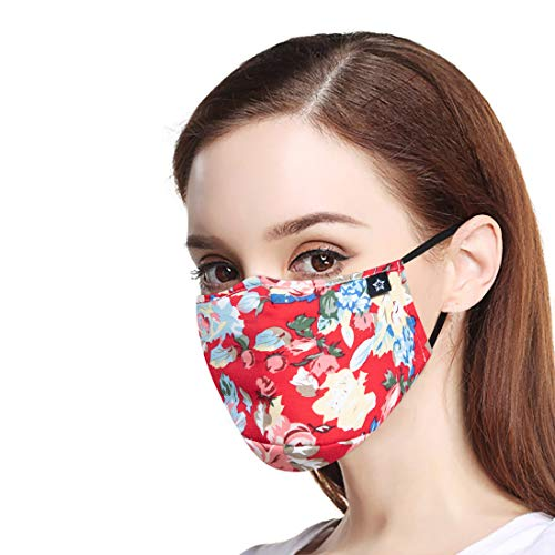 Fashion Reusable Cotton Cute Earloop Half Face Dust Proof Mouth Mask,Washable Outdoor Sports Cloth Face Mask with PM2.5 Carbon Filter Black Mouth Mask for Pollen, Anti Pollution,Flying, Smoke, Travel