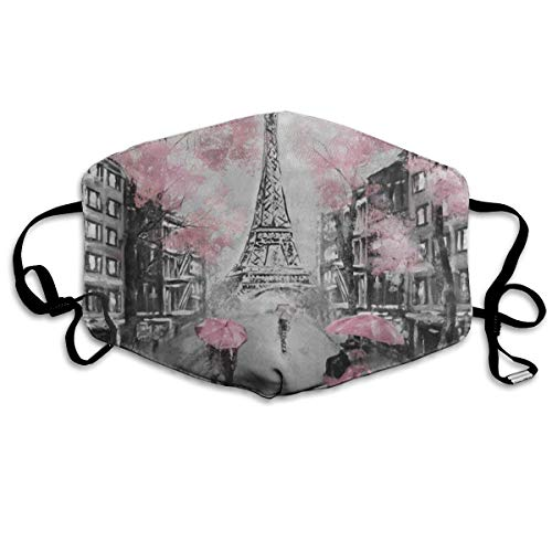 Dust Mask Art Paris Eiffel Tower Watercolor Anti-Dust Mouth Mask Adjustable Earloop Half Face Mask Anti Pollution Washable Reusable for Women Men Running Cycling Outdoor