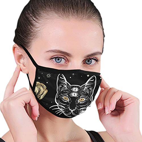 Dust Mask Cat and Roses in Tattoo Fashion Anti-dust Reusable Cotton Comfy Breathable Safety Mouth Masks Half Face Mask for Women Man Running Cycling Outdoor