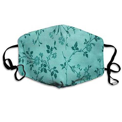 Teal Floral Print Washeable Reusable Mouth Mask Cotton Anti Dust Half Face Mouth Mask for Men Women Dustproof with Adjustable Ear Loops