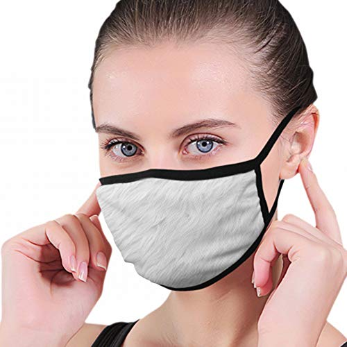 White Soft Wool Fur Full Seal Pollution Mask For Men & Women - Reusable Cotton Air Filter Mask With Adjustable Ear Loops Perfect For Blocking Pollution Dust Pollen And Germs