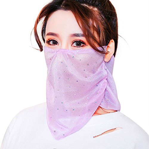 Women's Girls UV Dust Masks, Summer UPF 50+ Sun Protection Gauzy Mask for Face Neck Garden Fishing Hiking Cycling Outdoor Sports Breathable Anti Pollution Pollen Dust Allergy Mouth Masks 3 Pack
